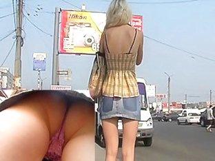 Peeking outdoor upskirt videos
