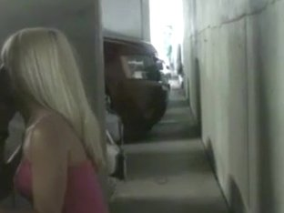 Blonde chick devouring dick at public parking lot