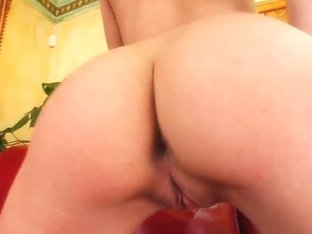 Tight ass Angelica plays with glass dildo