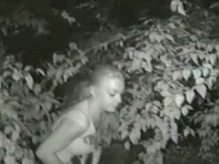 I taped horny blonde pissing in the forest at night on my camera