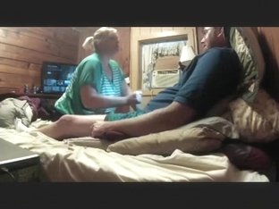 Fat nerdy guy gets a blowjob from his fat blonde gf