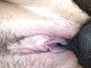 Getting filled up by a black guy. closeup doggystyle creampie.
