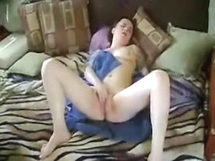 Smacking my cunt on the bed
