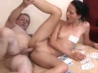 Slim babe works on dick