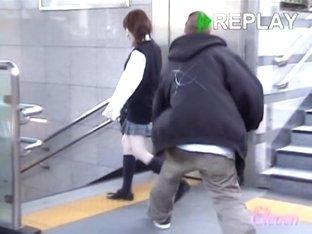 Japanese freshman's underwear visible during skirt sharking
