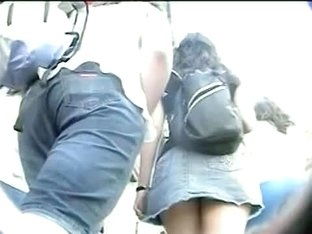 Enticing hot buts shot by an upskirt spy cam