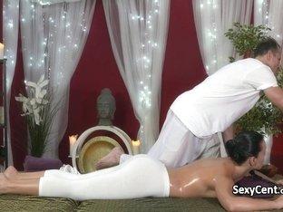 Brunette beauty fucked on massage table