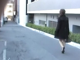 Business lady with a juicy ass skirt sharked on the street