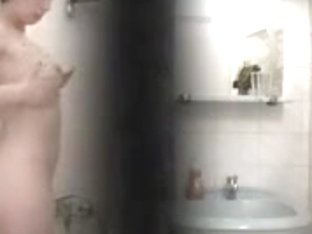 Petite teen brunette hidden shower cam