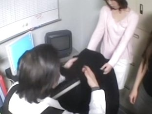 Two hot japs stripped in voyeur sex video in the office