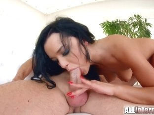 Nice nervous hottie black haired chick Daphne Klyde vaginal creampie