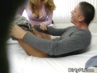 Spy Camera Catches Cheating Blonde Sucking Dick