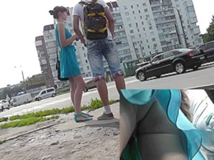 Young and with a bf in the sexy upskirt camera
