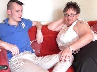 Teen gardener Sam Bourne with big dick fucks bbw granny