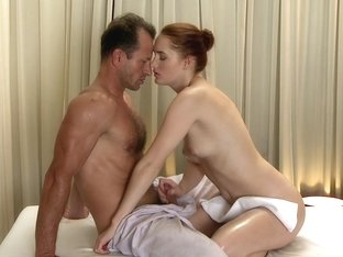 Love Creampie: Young redhead is stretched wide open and fucked by big cock