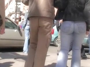 Blonde woman with sexy ass walking on the street