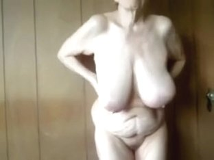 The biggest saggiest love muffins of my aged wife on webcam