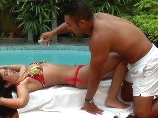 Sexy newbie Jessycah licked near the pool