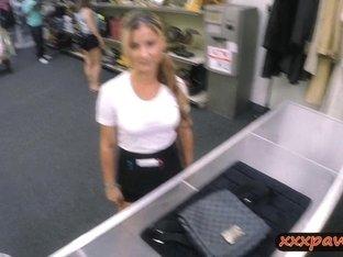 Sexy waitress fucked at the pawnshop to earn extra money