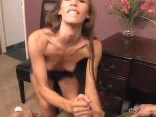 Skinny brunette Aiyana Flora jerks off a pecker