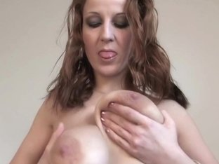 Older Brenda shows her large wobblers and masturbates
