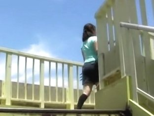 Stairs sharking odyssey with busy little bimbo getting caught off her guard