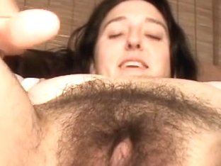 Hirsute girl shows her twat and asshole