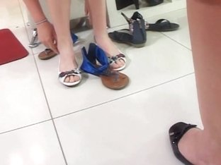 Females are show when they are trying out new shoes