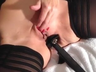 My horny wifey allows me to toy her shaved coochie