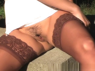 Amazing Homemade video with Stockings, Outdoor scenes