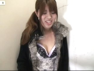 Asian babe with pony tails in big boobs down blouse