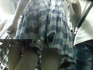 Delightsome checkered suit upskirt