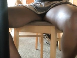 Checking her pussy under the table