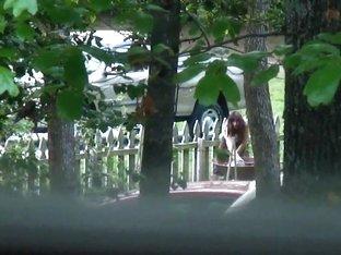 Teen neighbor's mom in yard