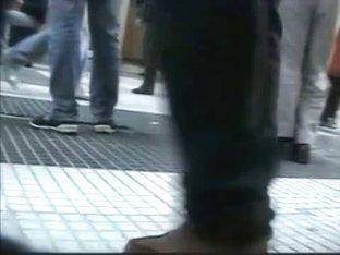 A libidinous upskirt spy cam voyeur video of a juicy rear end