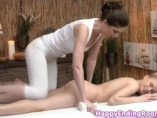 Classy closeup lesbians in erotic massage fun