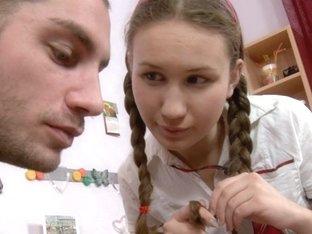 Na.ve schoolgirl in her 1st hard anal porn episode