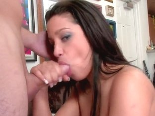 Fascinating brunette Anna with no hesitation starts blowjob