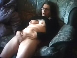 Geek and dissolute my girlfriend lies on her couch and masturbates
