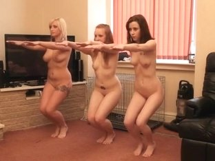 Obedient pack of three petite white sluts trained on webcam