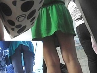 Great upskirt flash on the stairs