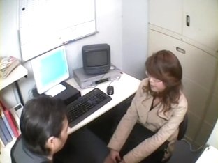 Sweet Japanese face fucked in voyeur office fuck video