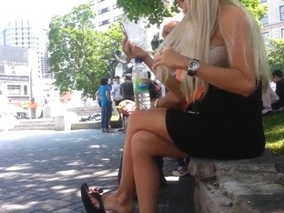 Candid Blonde Shoeplay Dangling Flip Flops Feet Face