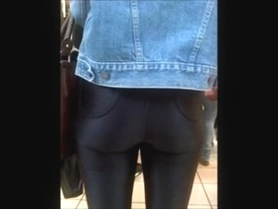 PERFECT candid teen ass in shiny pants