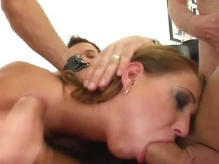 The very pretty Mel takes four dicks down her throat.