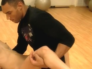 Nora in girl in blowjob scene getting fucked in a gym
