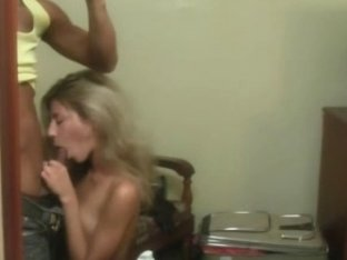 Blowjob in front of mirror