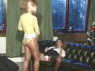 British MILFs in nylons use belt-ons in two lesbo scenes