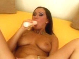 Desirous gal sweetheart dildoing her bald cum-hole unfathomable hard