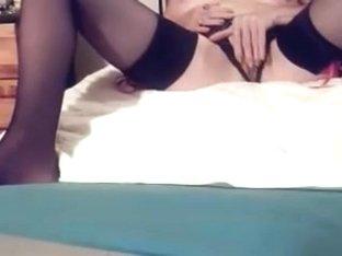 Mature slut in stockings plays hard